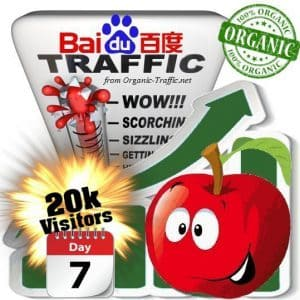 baidu organic traffic visitors 7days 20k